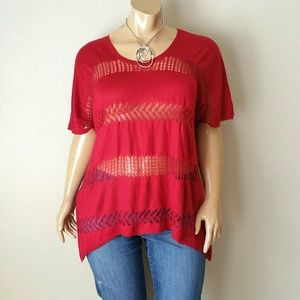 One World Red Blouse